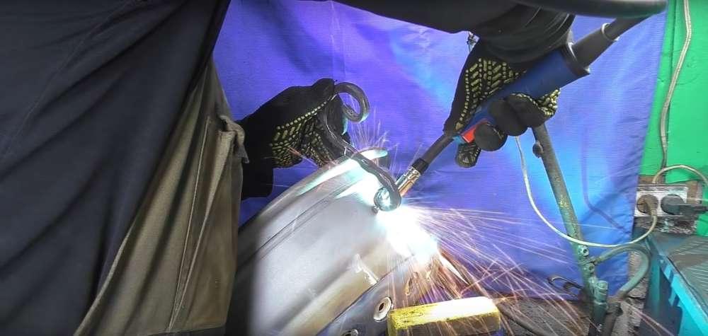 процесс изготовления мангала из автомобильного диска шаг 29