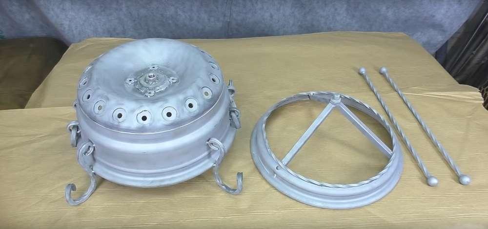 процесс изготовления мангала из автомобильного диска шаг 40
