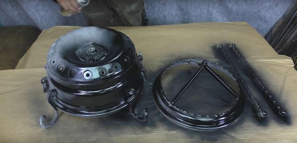 процесс изготовления мангала из автомобильного диска шаг 42