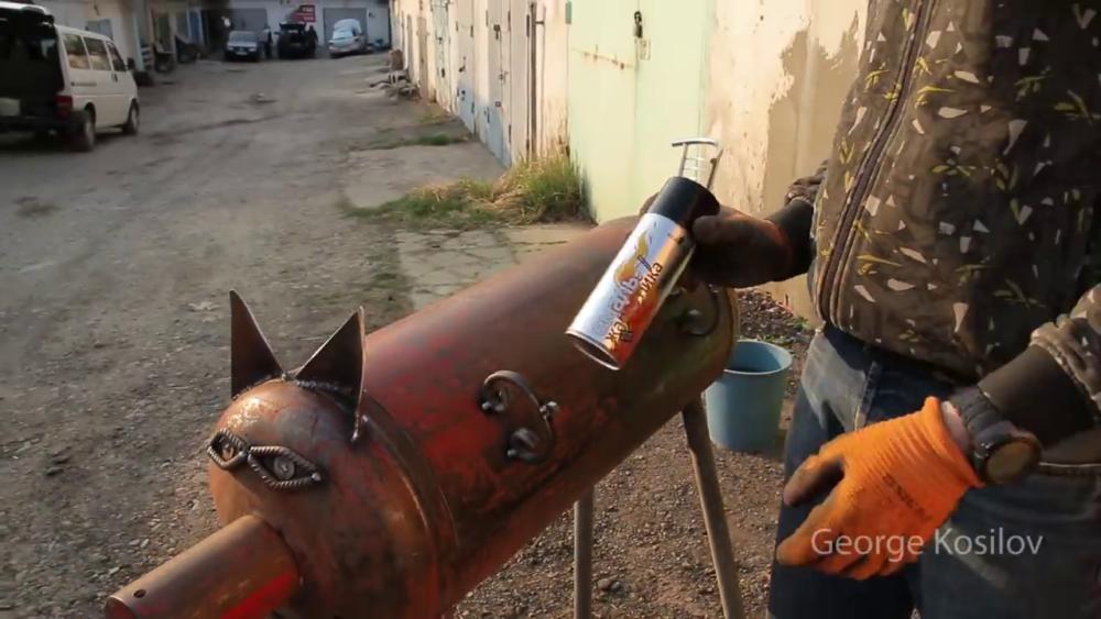 процесс изготовления свин-барбекю из газового баллона шаг 42