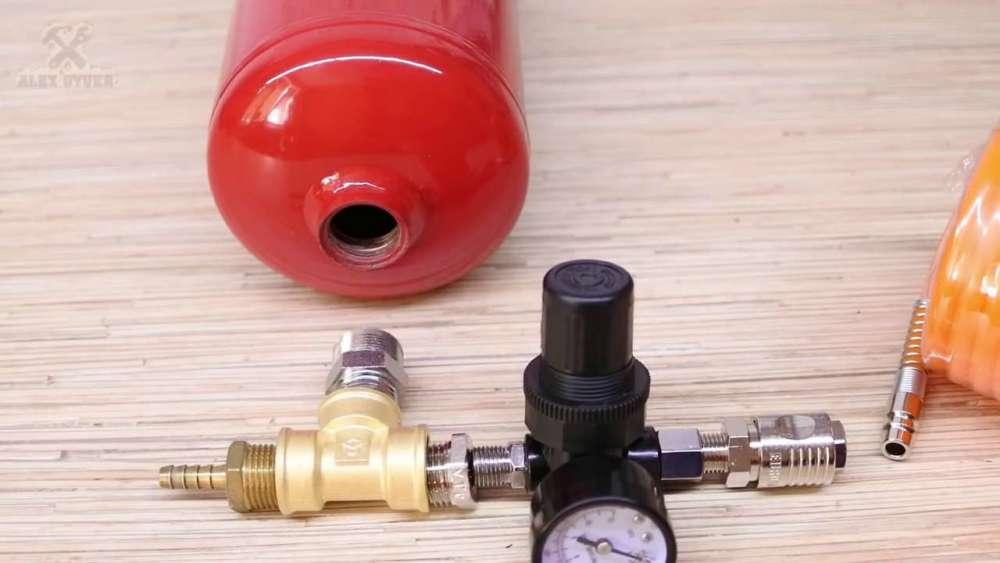 Самодельный компрессор с ресивером из огнетушителя шаг 12