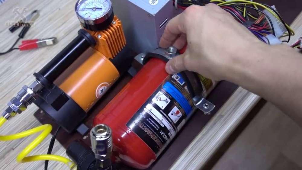 Самодельный компрессор с ресивером из огнетушителя шаг 39