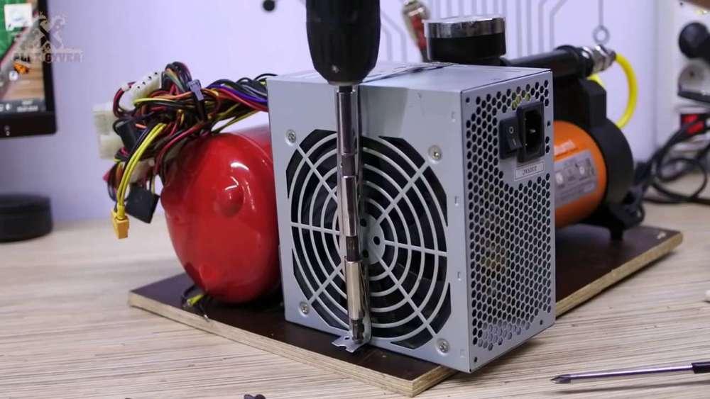 Самодельный компрессор с ресивером из огнетушителя шаг 46
