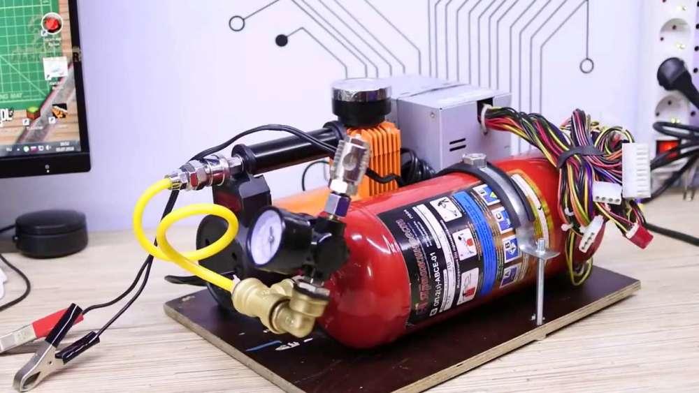 Самодельный компрессор с ресивером из огнетушителя шаг 48