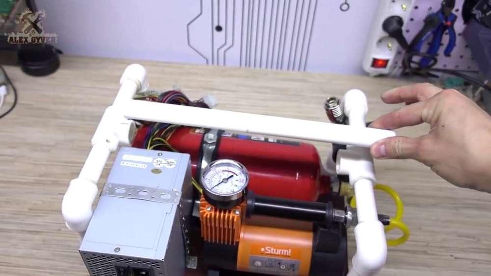 Самодельный компрессор с ресивером из огнетушителя шаг 67
