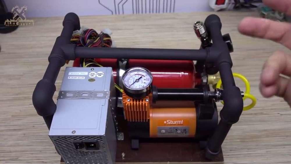 Самодельный компрессор с ресивером из огнетушителя шаг 70