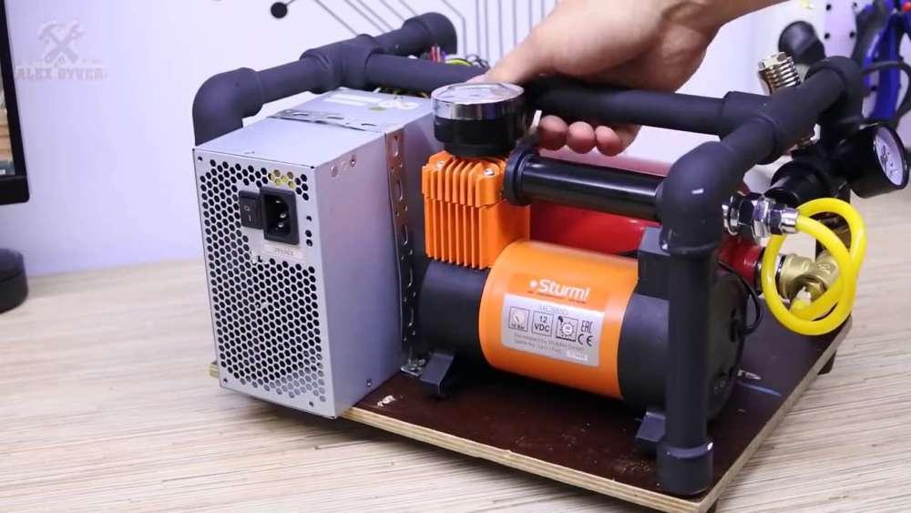 Самодельный компрессор с ресивером из огнетушителя шаг 72