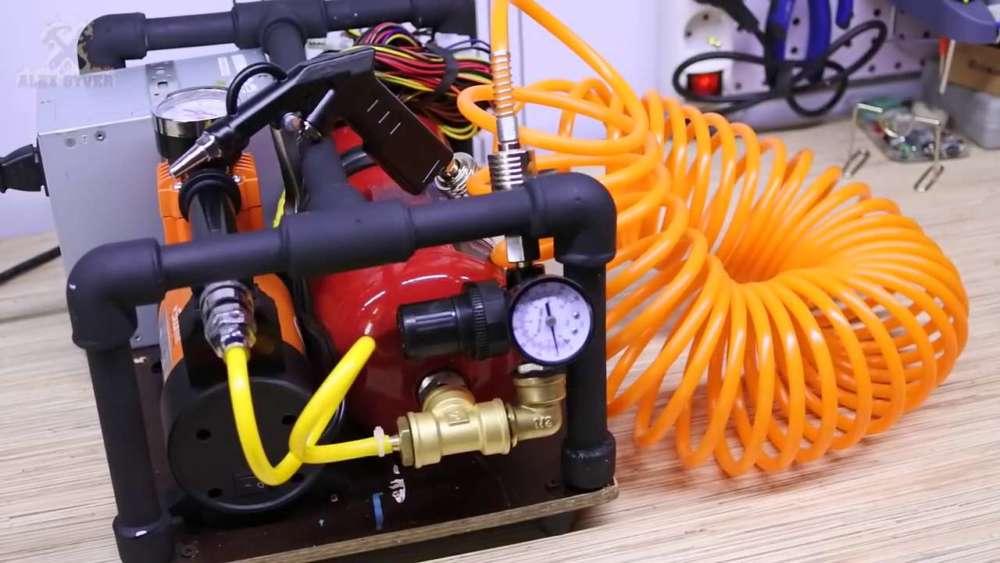 Самодельный компрессор с ресивером из огнетушителя шаг 77